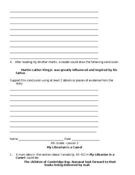 Journeys Grade 4 Unit 1  Short Response Questions