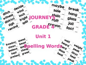 Journeys Grade 4 Unit 1 Spelling Word Cards