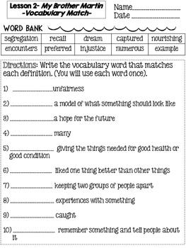 Journeys Grade 4 Unit 1 Vocabulary Matching Lessons 1-5