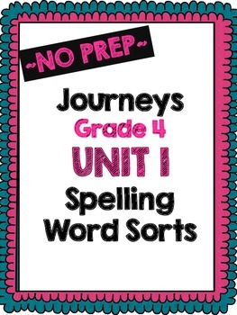 Journeys Grade 4 Unit 1 Word Sort Bundle