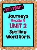 Journeys Grade 4 Unit 2 Spelling Word Sorts