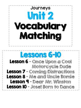 Journeys Grade 4 Unit 2 Vocabulary Matching Lessons 6-10