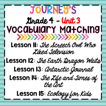 Journeys Grade 4 Unit 3 Vocabulary Matching