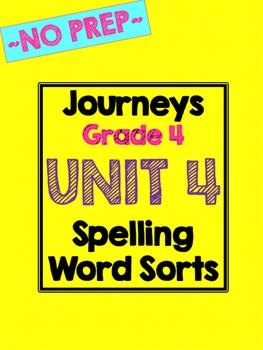 Journeys Grade 4 Unit 4 Spelling Word Sorts