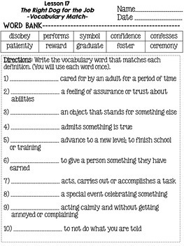 Journeys Grade 4 Unit 4 Vocabulary Matching