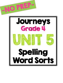 Journeys Grade 4 Unit 5 Spelling Sorts