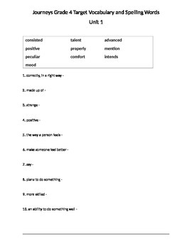 Journeys Grade 4 Unit 1, Unit 2, Unit 3, Unit 4, Unit 5 Vocabulary and Spelling