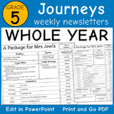 Journeys 5th Grade: Editable Weekly Newsletters WHOLE YEAR (Lessons 1-30)