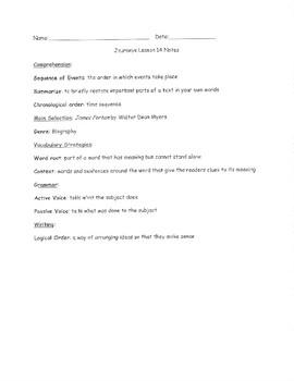 Journeys Grade 5 Lesson 14 notes & vocab