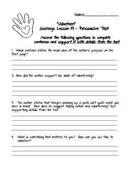 Journeys Grade 5 Lesson 19: Darnell Rock Reporting Comprehension Questions