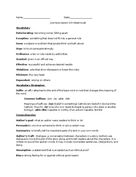 Journeys Grade 5 Lesson 19 notes & vocab