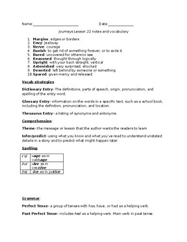 Journeys Grade 5 Lesson 22 notes & vocab