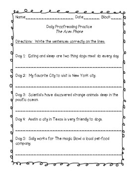 Journeys Grade 6 Daily Language Practice and EQ  - The ACES Phone