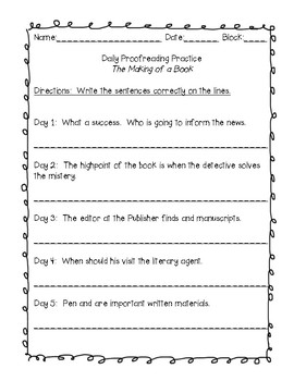 Journeys Grade 6 Daily Language Practice and EQ  - The Making of a Book