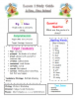 Journeys Grade Three Unit 1 Study Guides, Spelling Tests,