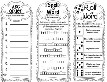 Journeys SECOND Grade Word Work Spelling Trifolds:  Unit FIVE