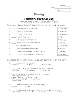 Journeys - HMH © 2011/2012 Grade 4 Lesson 05 Vocabulary/Selection Test