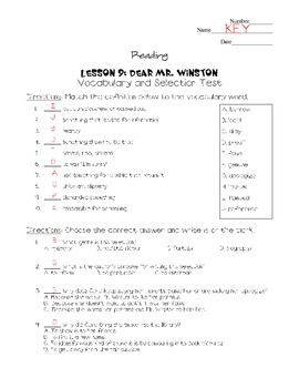 Journeys - HMH © 2011/2012 Grade 4 Lesson 09 Selection/Vocabulary Test