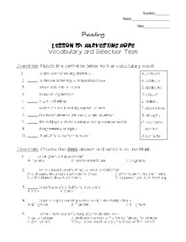 Journeys - HMH © 2011/2012 Grade 4 Lesson 19 Vocabulary/Selection Test