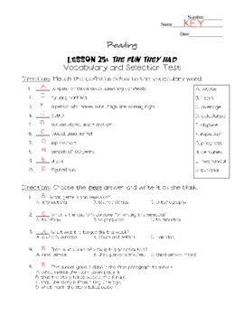 Journeys - HMH © 2011/2012 Grade 4 Lesson 25 Vocabulary/Selection Test