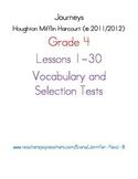 Journeys - HMH © 2011/2012 Grade 4 Lessons 1-30 Vocabulary