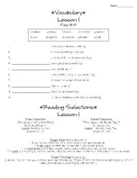 Journeys - HMH © 2011/2012 Grade 4 Unit 1 Study Sheets