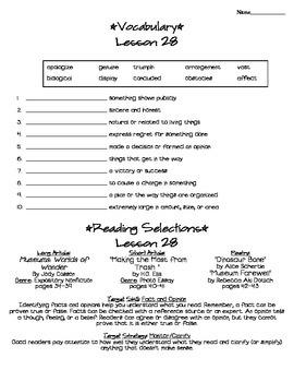 Journeys - HMH © 2011/2012 Grade 4 Unit 6 Study Sheets