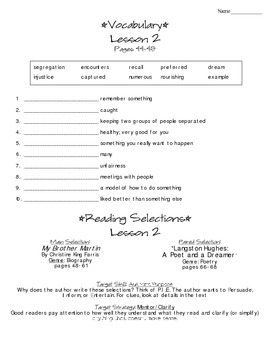 Journeys - HMH © 2014 Grade 4 Lesson 02 Study Sheet