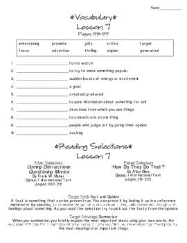 Journeys - HMH © 2014 Grade 4 Lesson 07 Study Sheet