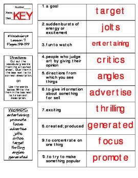 Journeys - HMH © 2014 Grade 4 Lesson 07 Vocabulary Practice