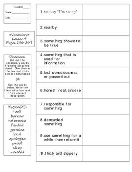 Journeys - HMH © 2014 Grade 4 Lesson 09 Vocabulary Practice