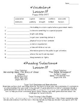 Journeys - HMH © 2014 Grade 4 Lesson 19 Study Sheet