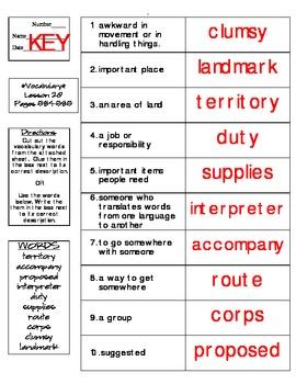Journeys - HMH © 2014 Grade 4 Lesson 20 Vocabulary Practice
