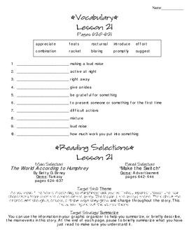 Journeys - HMH © 2014 Grade 4 Lesson 21 Study Sheet