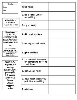 Journeys - HMH © 2014 Grade 4 Lesson 21 Vocabulary Practice