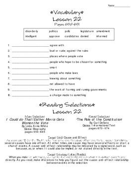 Journeys - HMH © 2014 Grade 4 Lesson 22 Study Sheet