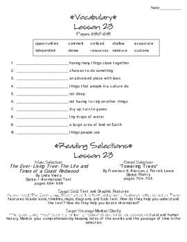 Journeys - HMH © 2014 Grade 4 Lesson 23 Study Sheet