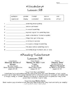 Journeys - HMH © 2014 Grade 4 Lesson 28 Study Sheet