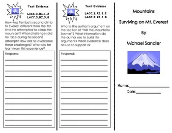 Journeys HMH Common Core Unit 5 Trifolds all Stories/ 3rd Grade