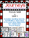 Journeys Third Grade Focus Wall for Unit 1