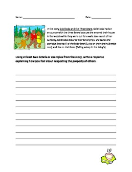 Theme Extension Writing Prompt for Goldilocks