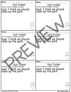 Journeys-Helen Keller Exit Tickets