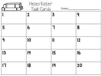 Journeys Helen Keller Vocabulary, Phonics, and Grammar Task Cards
