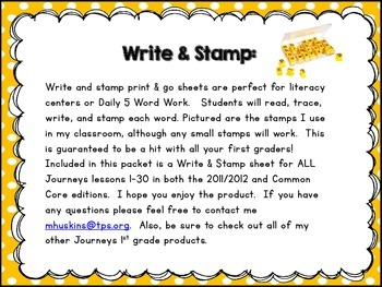 Journeys High Frequency Sight Word Stamp and Write Word Work