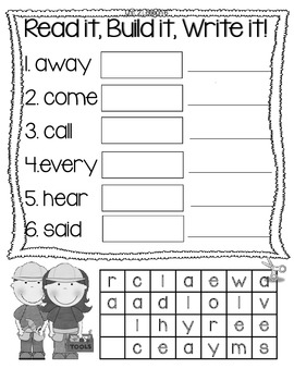 Journeys High Frequency Word Activities Unit 2 Lessons 6-10 1st Grade