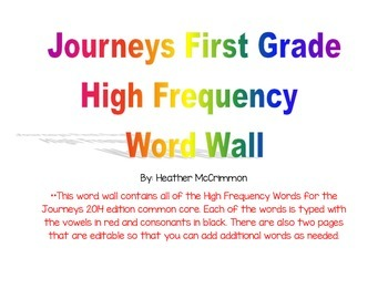 Journeys High Frequency Word Wall First Grade