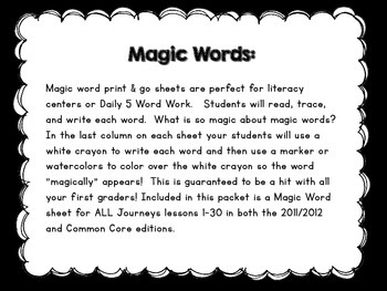 Journeys High Frequency Words (Sight Words) Magic Words Word Work