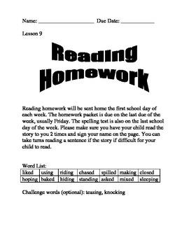 Journeys Spelling Homework Lesson 9