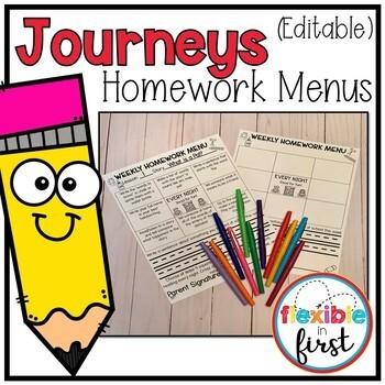 Journeys Homework Menus Growing Bundle (Editable)