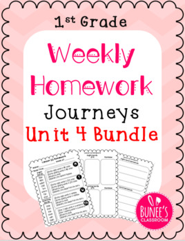 Journeys Homework Unit 4 Bundle- First Grade